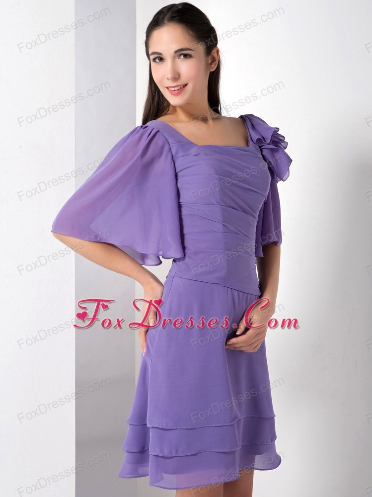 Purple Square Knee-length Chiffon Dama Dresses for Quinceanera