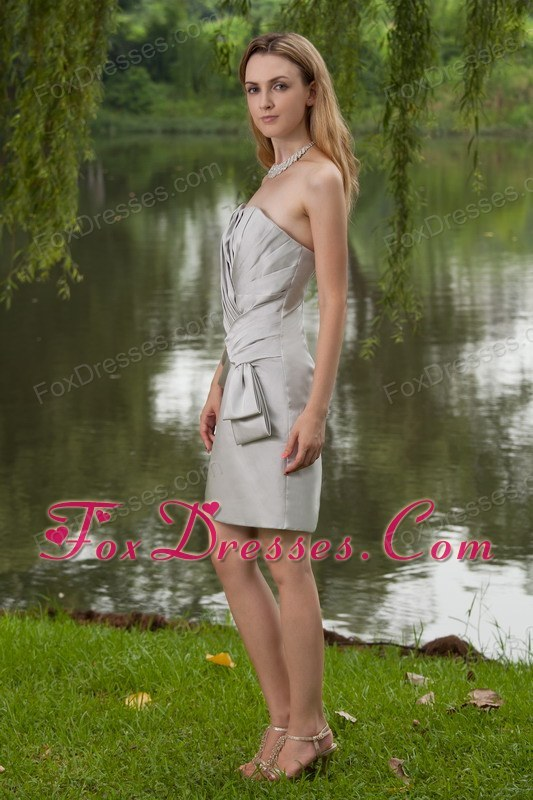 Grey Column Strapless Mini-length Bridesmaid Dresses with Pleats