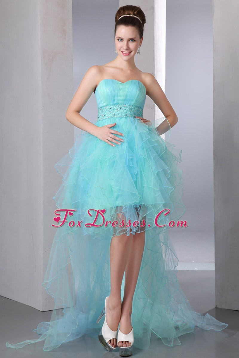 Blue Organza Beading Asymmetrical Prom Dress