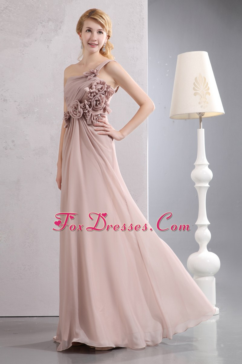 Shoulder Designer Pink Chiffon Hand Flowers Prom Dress