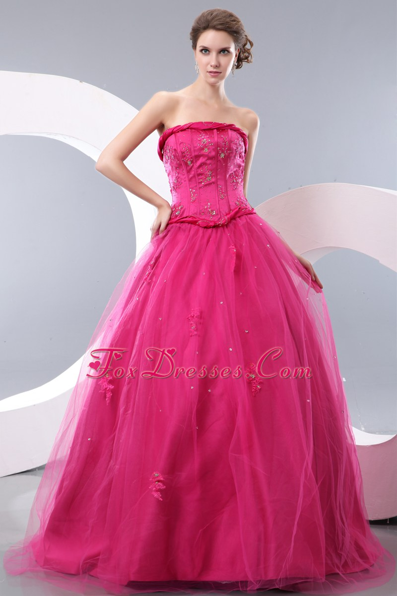 Hot Pink A-line Strapless Floor-length Beading Prom Dress