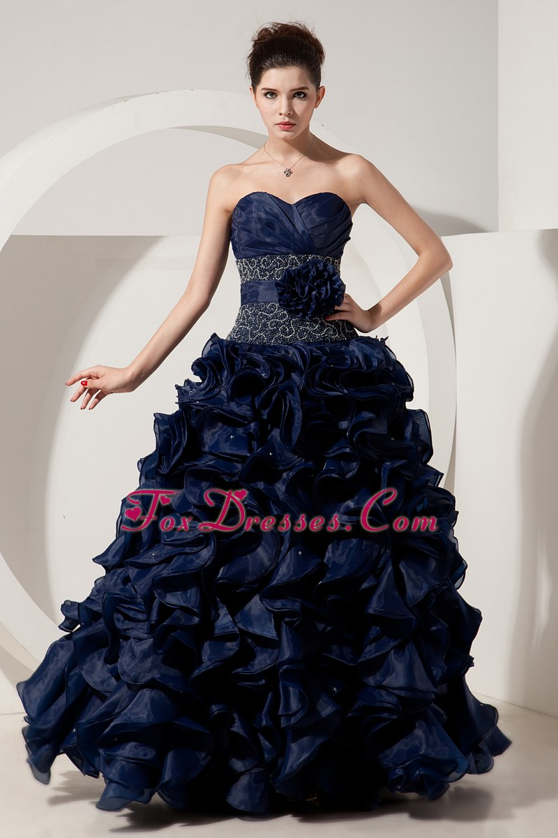 Blue A Line Sweetheart Ruffles Beading Prom Dress