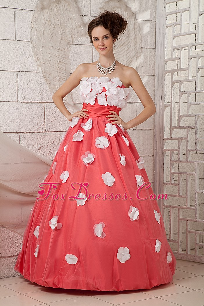 Watermelon A-line Strapless Prom Dress With White Flowers