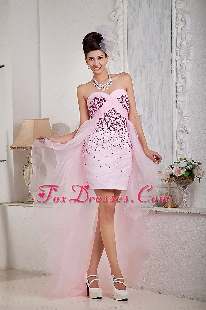 Sweetheart High-low Prom Dress Designer Baby Pink Beading