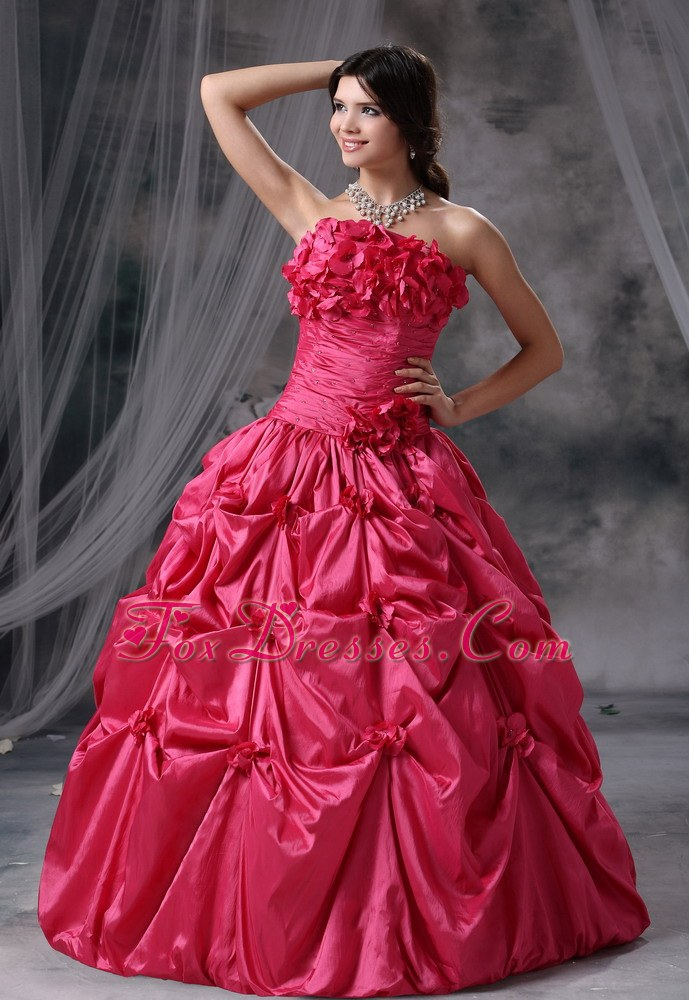 Taffeta Strapless Coral Red Quinceanera Dress