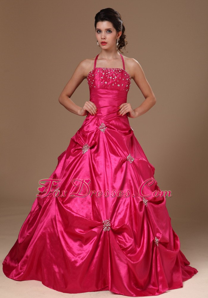 Pick-ups Halter Hot Pink Quinceanera Dresses
