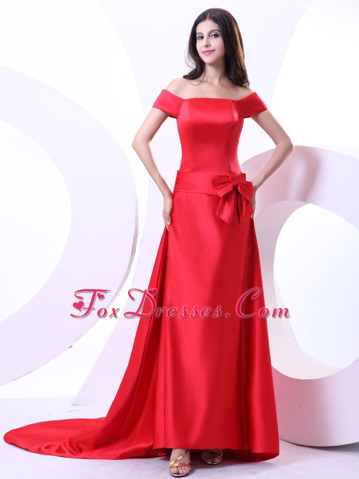 The Shoulder Red Bowknot Prom Evening Dress Brush Train