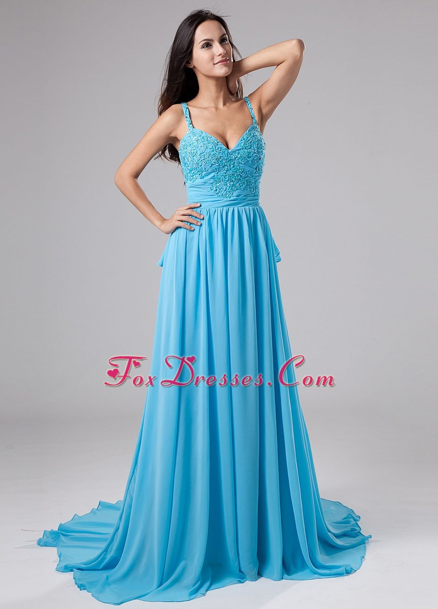 Beading Straps Court Train Chiffon Prom Party Dresses Blue