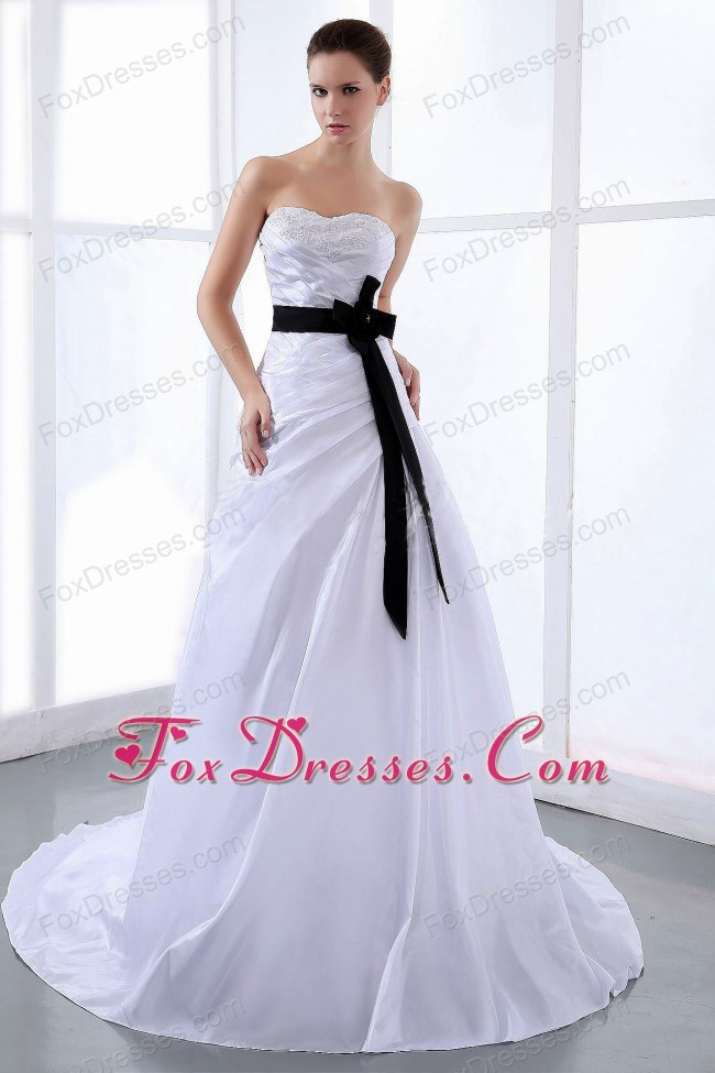 Black Sash Wedding Dress Taffeta Plus Size Train Sweetheart