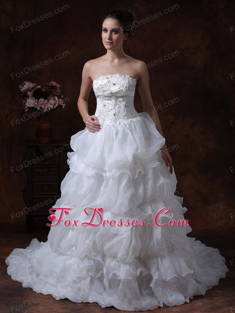 Layered Beading Popular 2013 Bridal Wedding Dress Bowknot