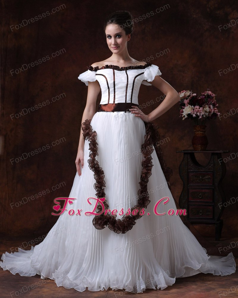 Off The Shoulder Pleated Organza Colored Wedding Dress