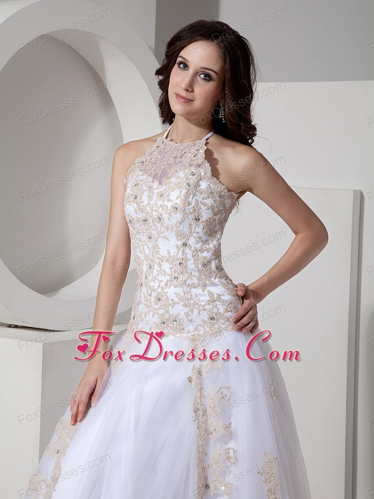 Lace Halter Wedding Dress Court Train Appliques Ball Gown