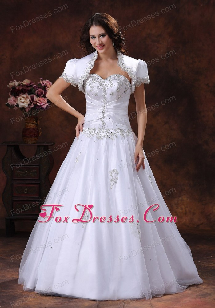 Ruched Embroidery Plus Size Wedding Dress Matching Jacket