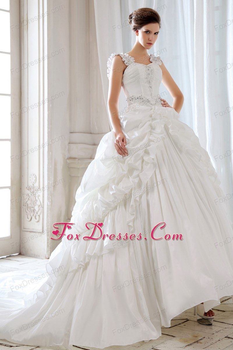 Beaded Straps Appliques Wedding Dress Court Train Taffeta