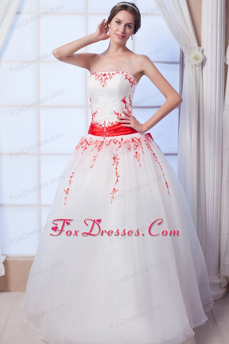 Red Ball Gown Organza Appliques Bridal Wedding Dress Ruched Sash