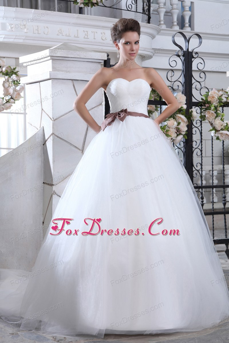 Mermaid Sweetheart Court Train Tulle Sash Wedding Dress