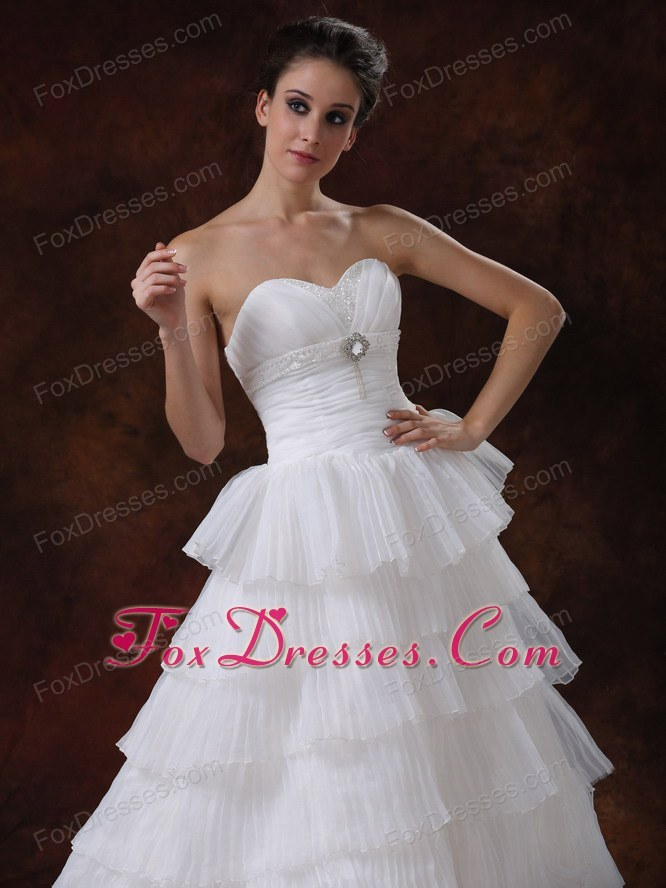 white perfect wedding dress with organza