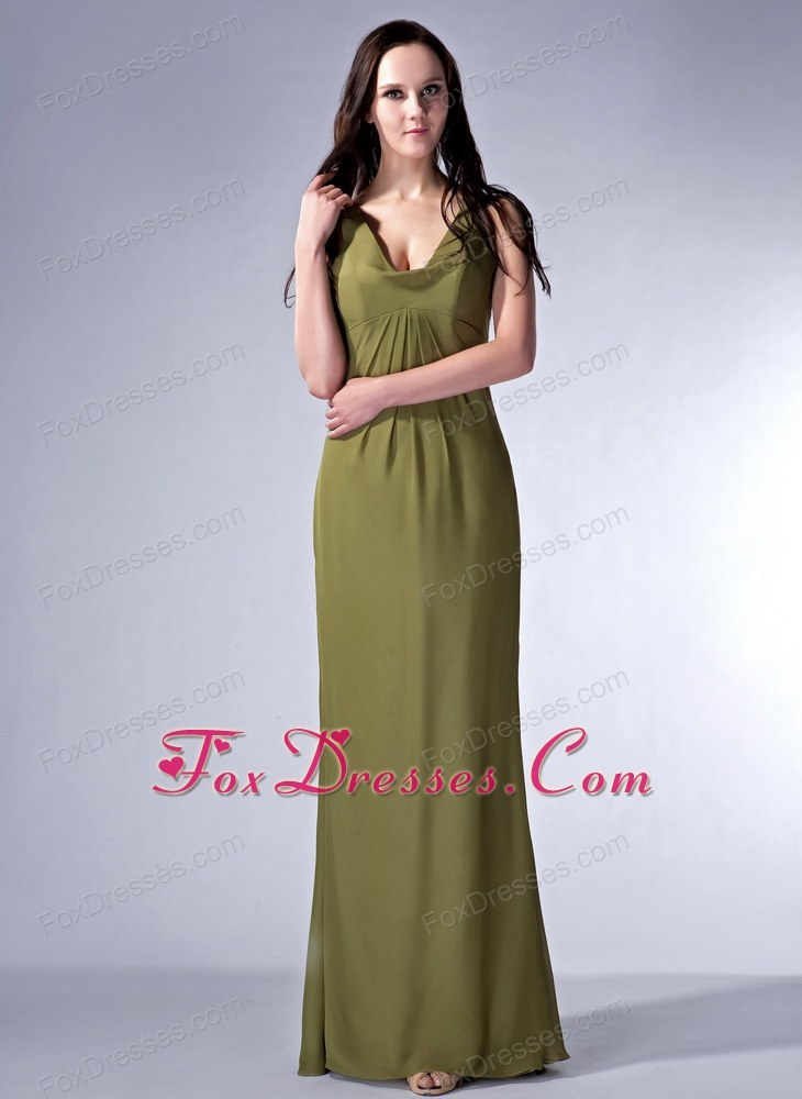 Olive Green V-neck Floor-length Ruche Evening Pageant Dress