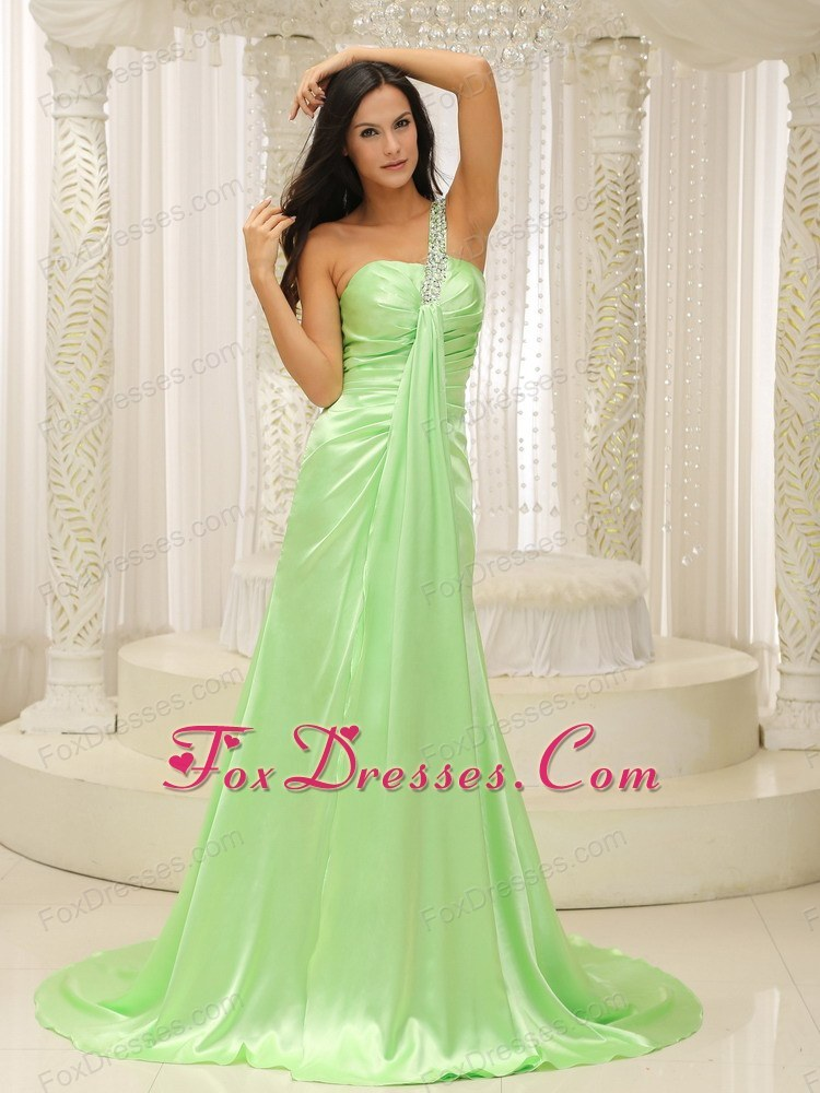 Beading One Shoulder Ruche Yellow Green 2013 Prom Evening Dress