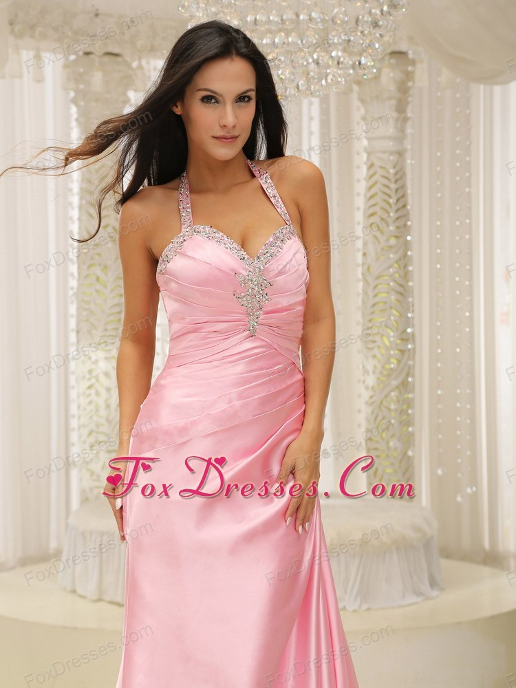 Rose Pink Halter Top Ruche 2013 Evening Pageant Dress Brush Train