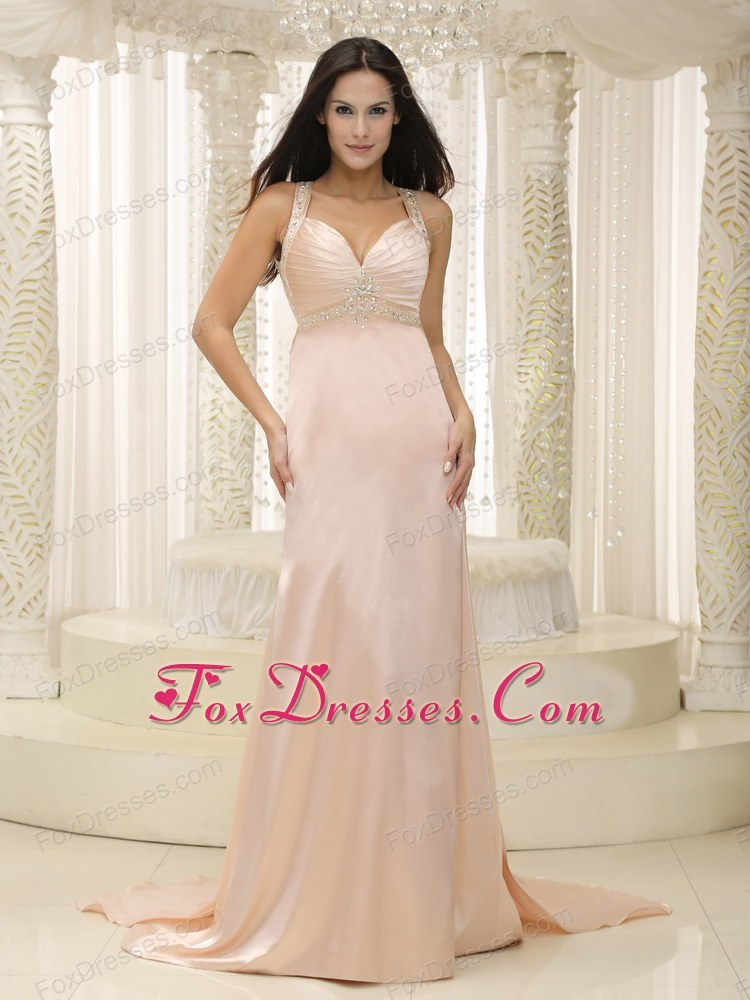 Straps Baby Pink Ruche Prom Evening Dress Custom Made