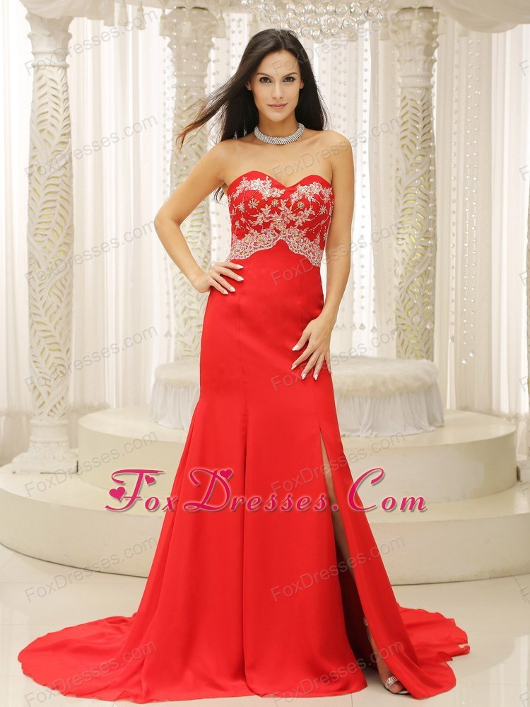 High Slit Sweetheart Evening Dress with Appliques