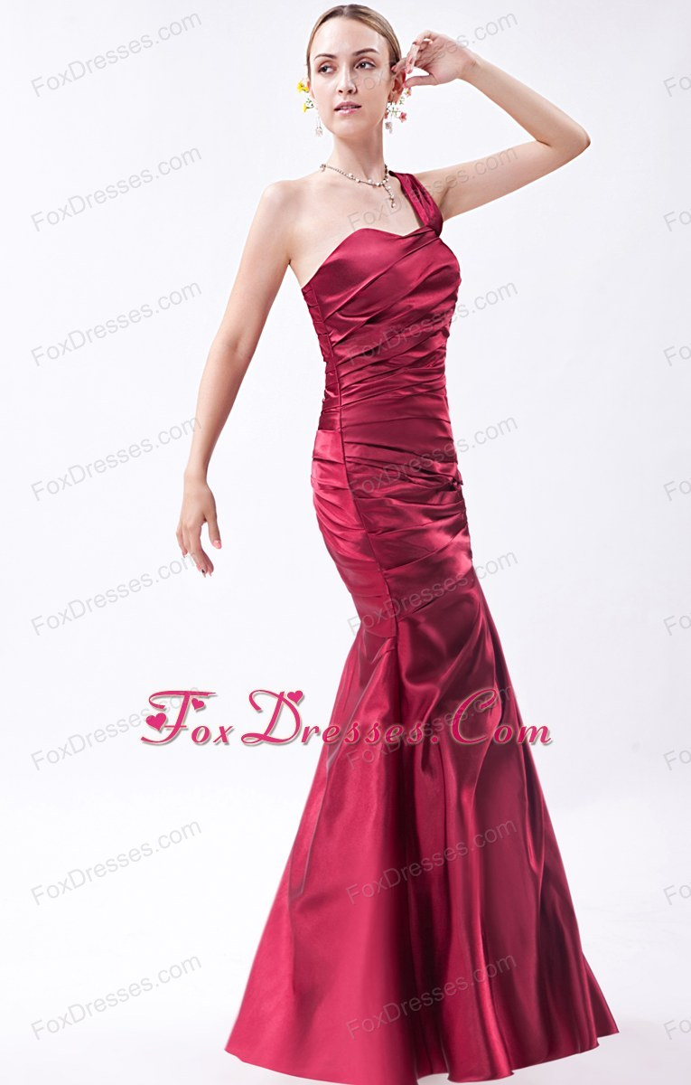 Wine Red Mermaid One Shoulder Prom Evening Dress Ruch