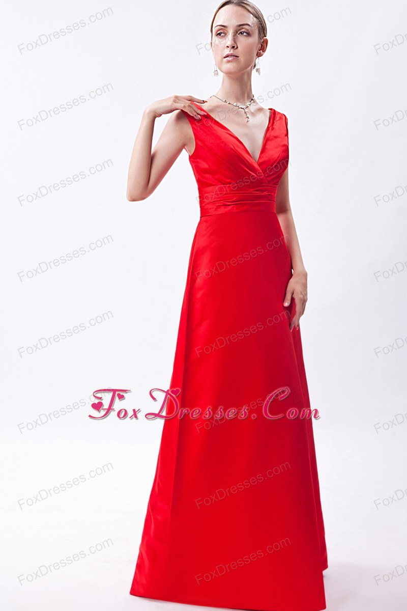 Red Column V-neck Floor-length Ruche Prom Evening Dress