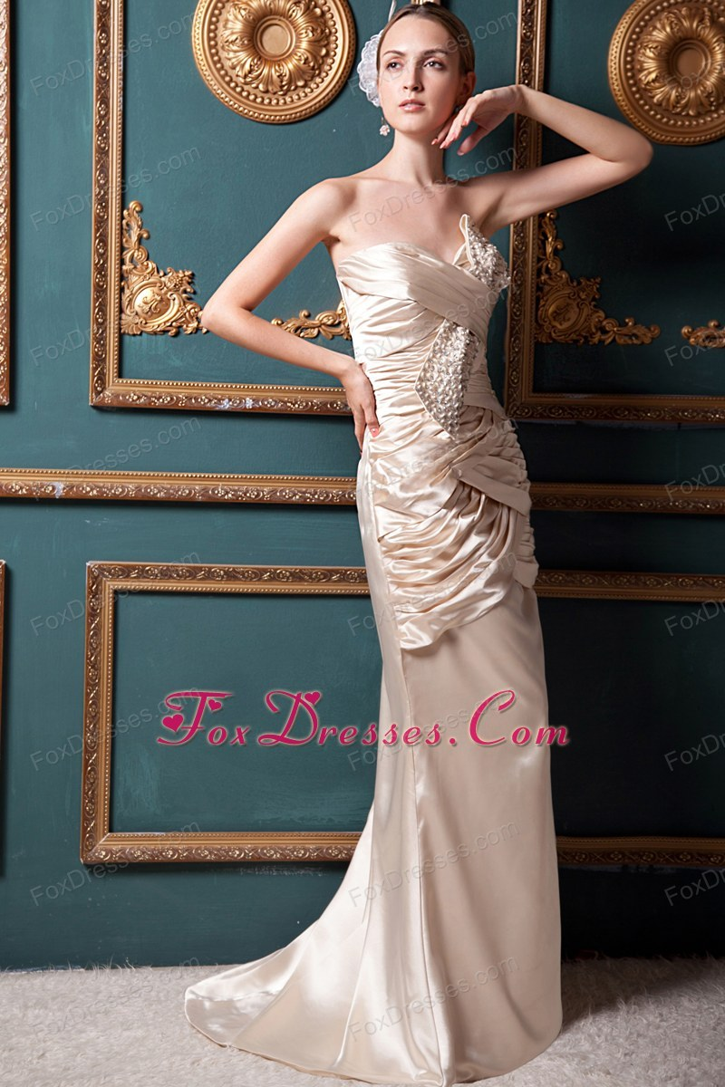 Column Sweetheart Beading Prom Evening Dress Ruch
