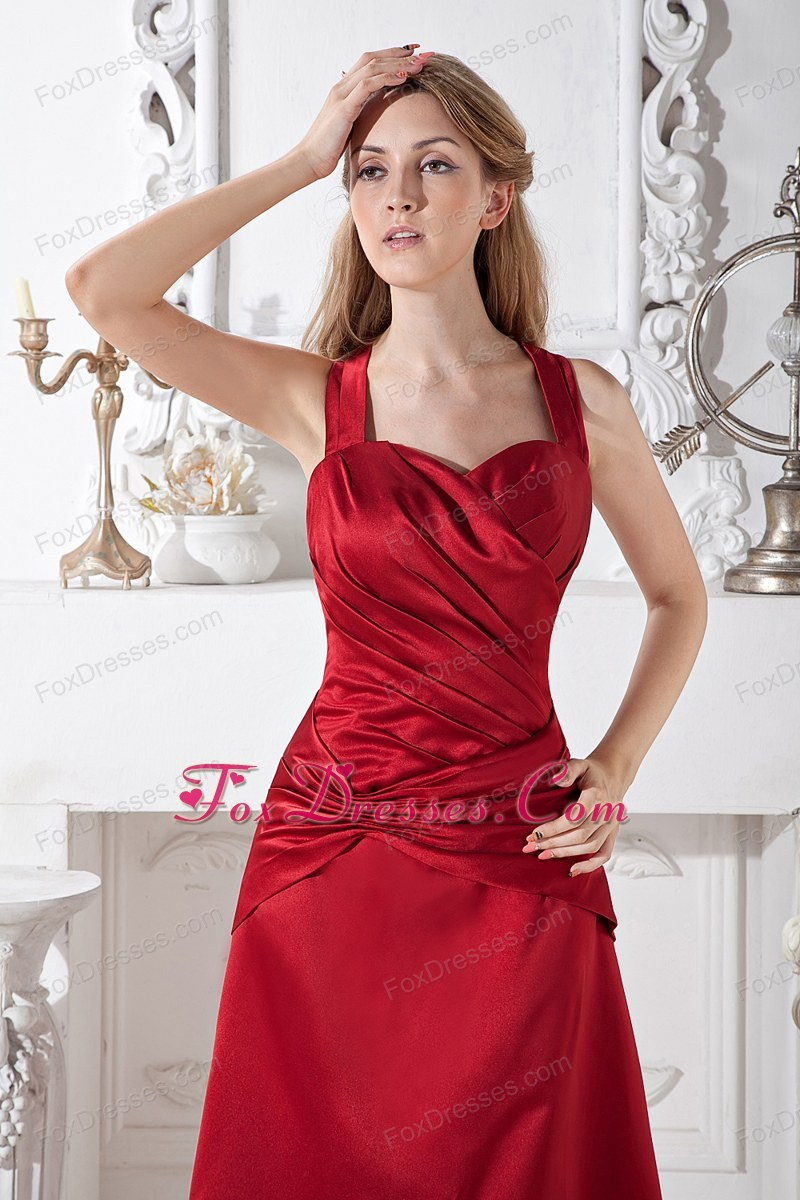 Wine Red Halter A-line Prom Gown Dress Long