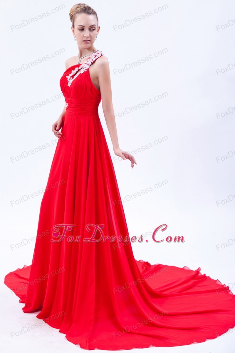 Red One Shoulder Evening Pageant Dress Appliques