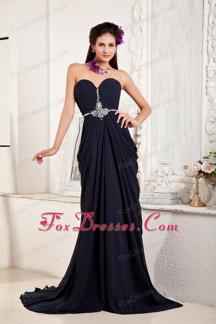 Navy Blue Empire Brush Chiffon Evening Celebrity Dress Beading