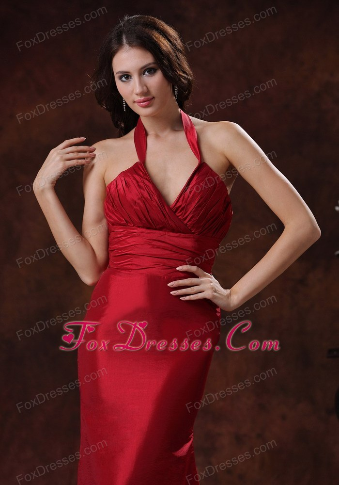 Mermaid Halter Prom Evening Dress Red In Wedding Party Wear