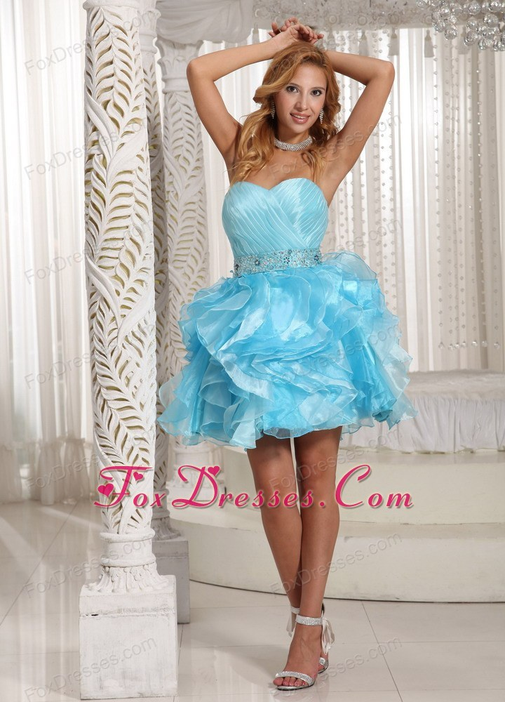 Luxurious Beading Sweetheart Aque Blue Cocktail Dresses