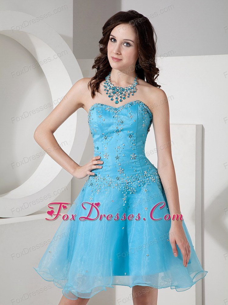 A-line Sweetheart Beading 2013 Graduation dress in Baby Blue