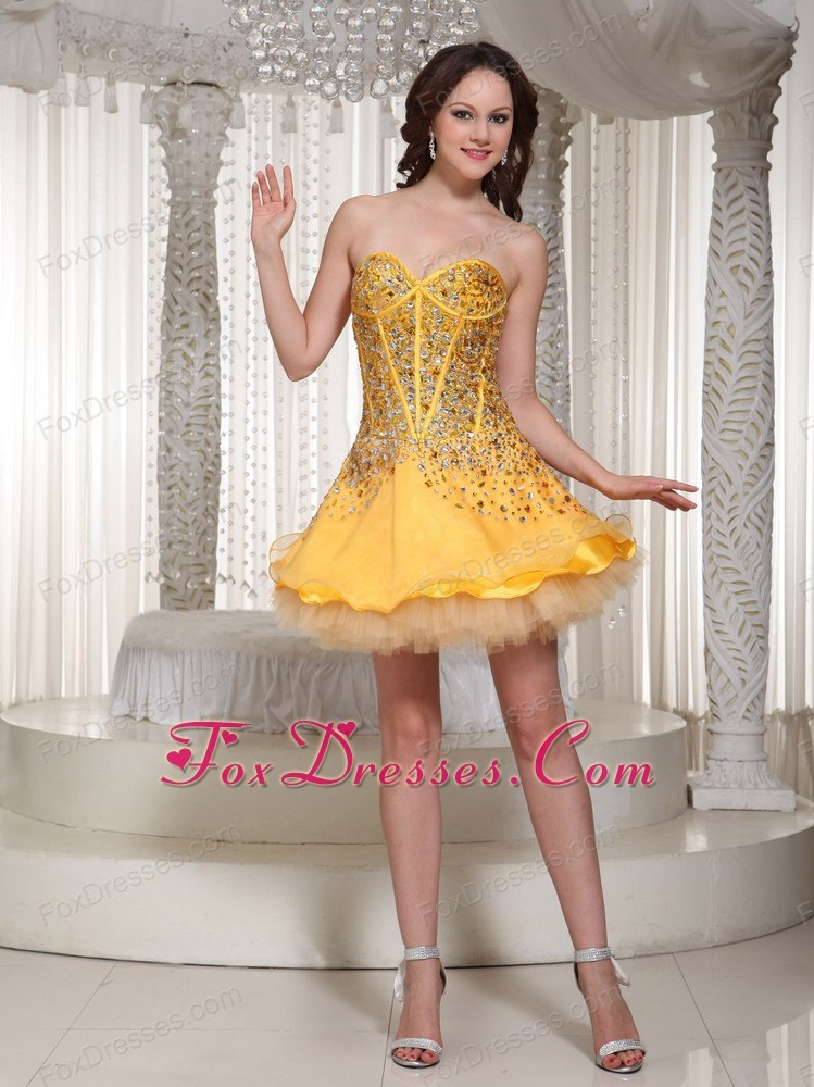 The Brand New Gold Beading Sweetheart Evening Party Dresses