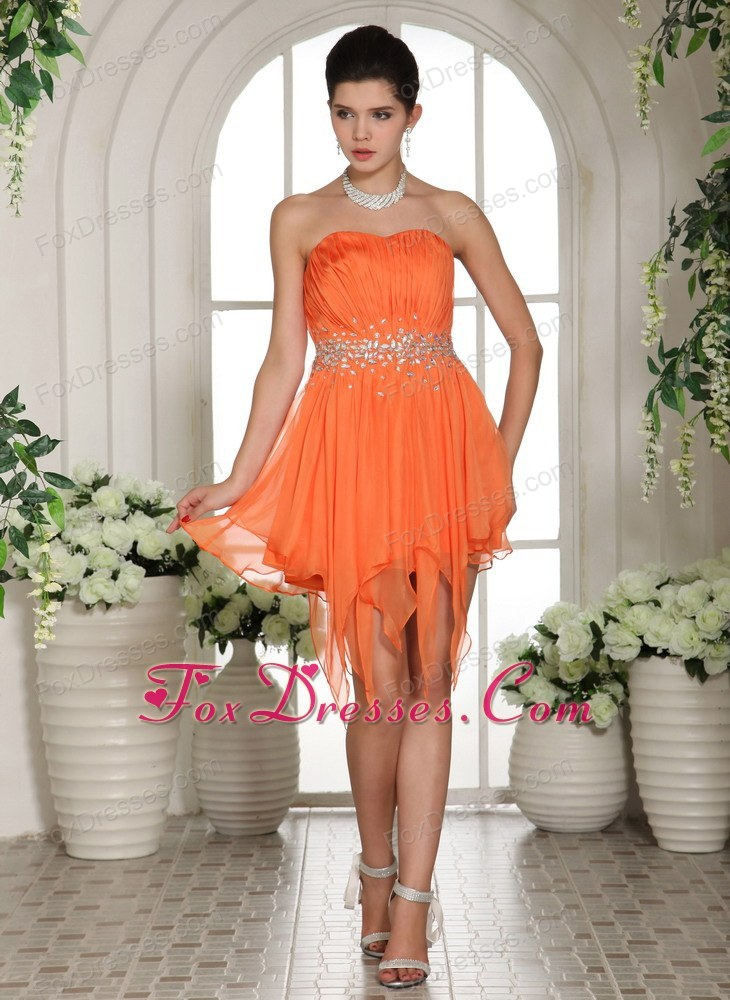 Chiffon Beading Asymmetrical Homecoming Cocktail Dress