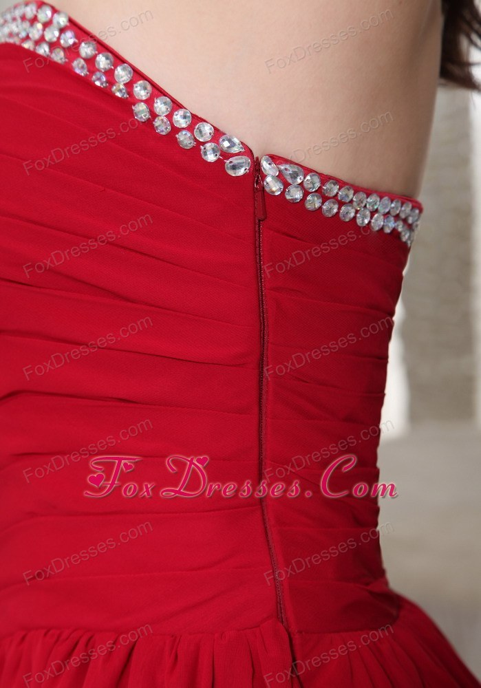 Red Ruching Prom Homecoming Dress Beading Cocktail