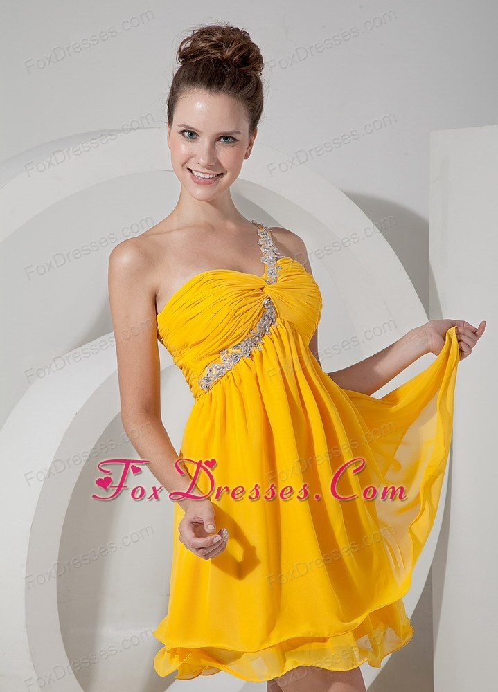 Yellow Empire One Shoulder Beading Prom Homecoming Dress