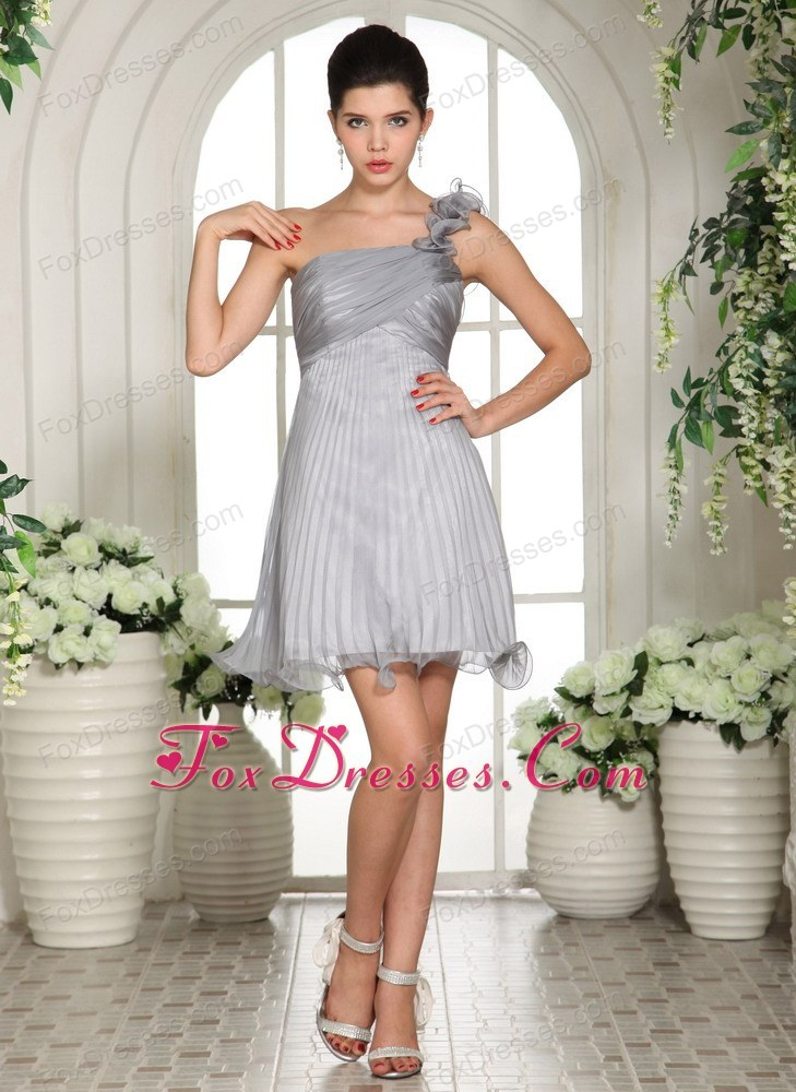 Gray One Shoulder 2013 Prom Gown Dress Organza