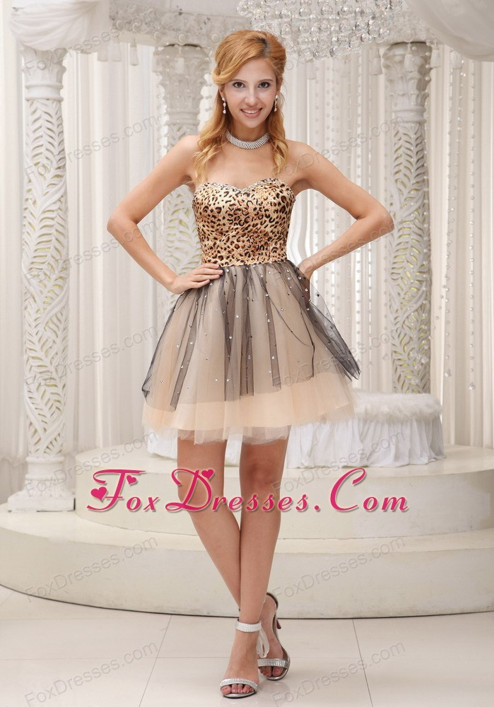 Leopard and Tulle 2013 Prom Dress Beading Sweetheart
