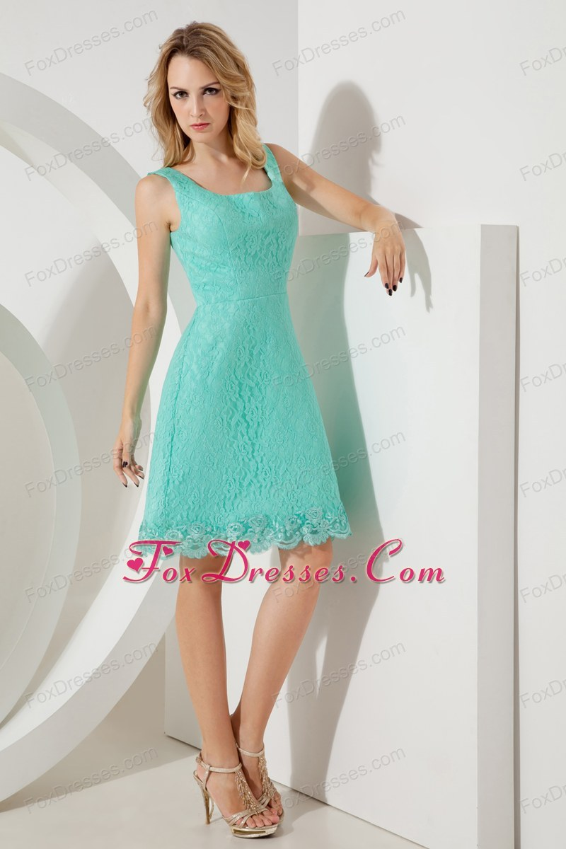 Short Turquoise Square 2013 Prom Homecoming Dress