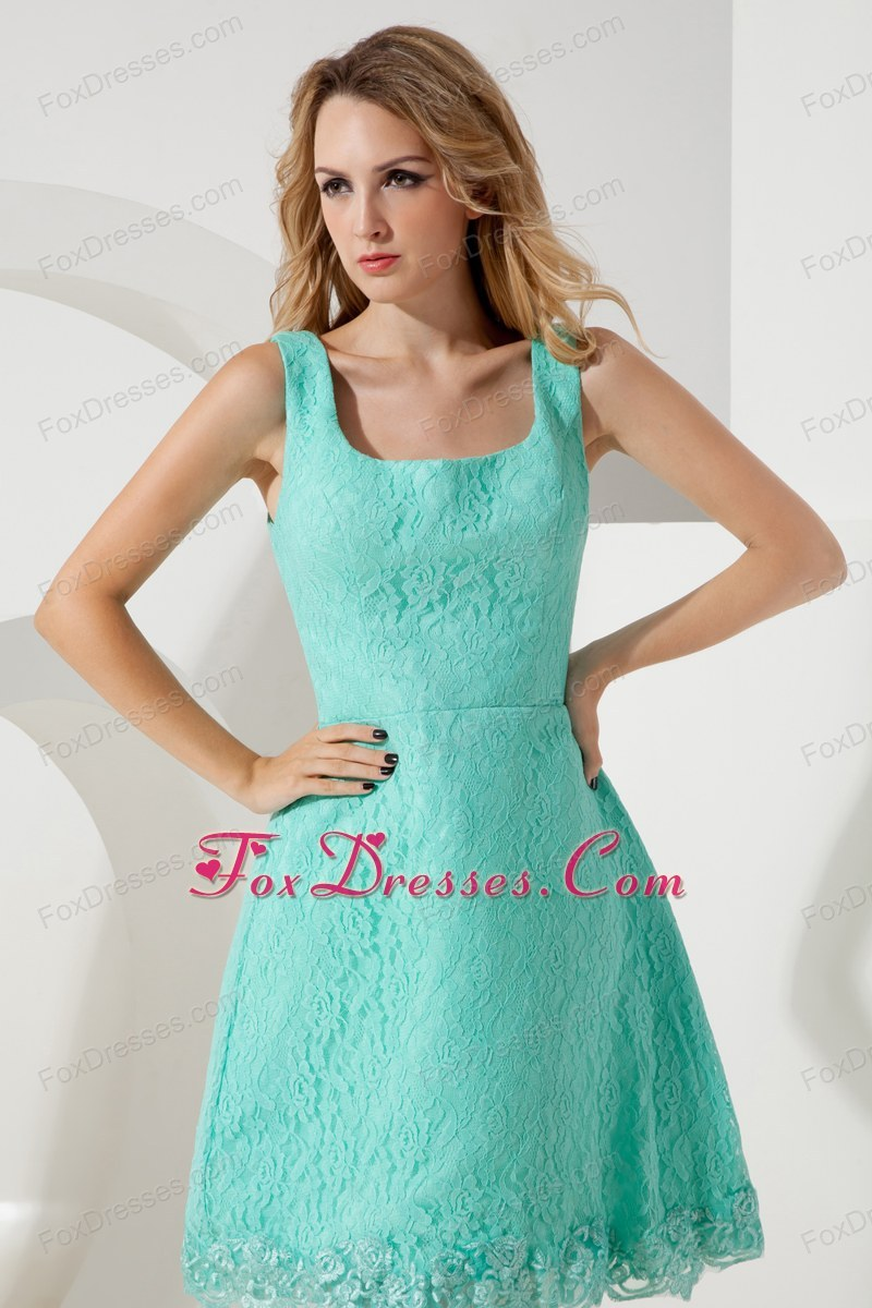 Lace Short Turquoise Square 2013 Prom Homecoming Dress