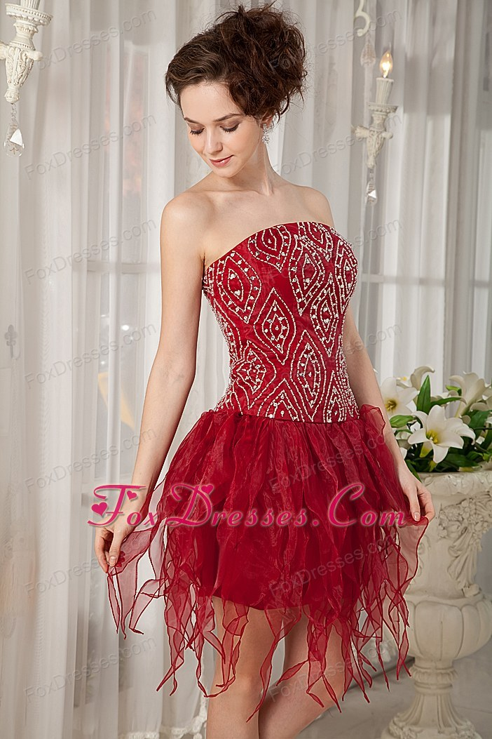 Beading Column Strapless Wine Red Prom Cocktail Dress