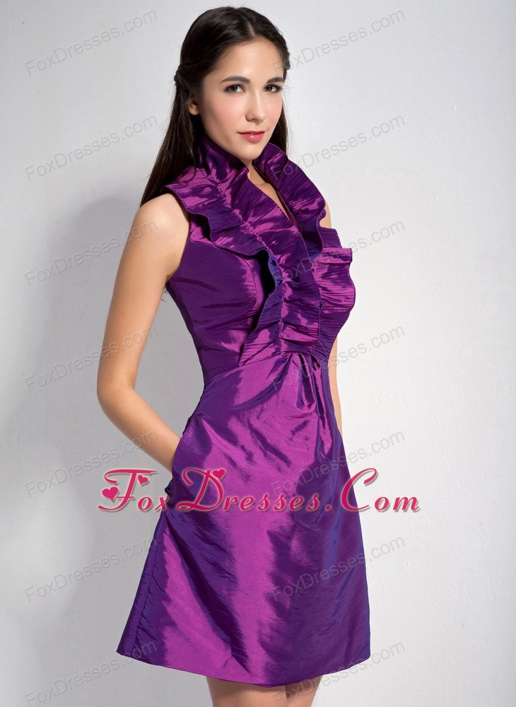Halter Purple 2013 A-line Mini-length Taffeta Graduation Cocktail ...