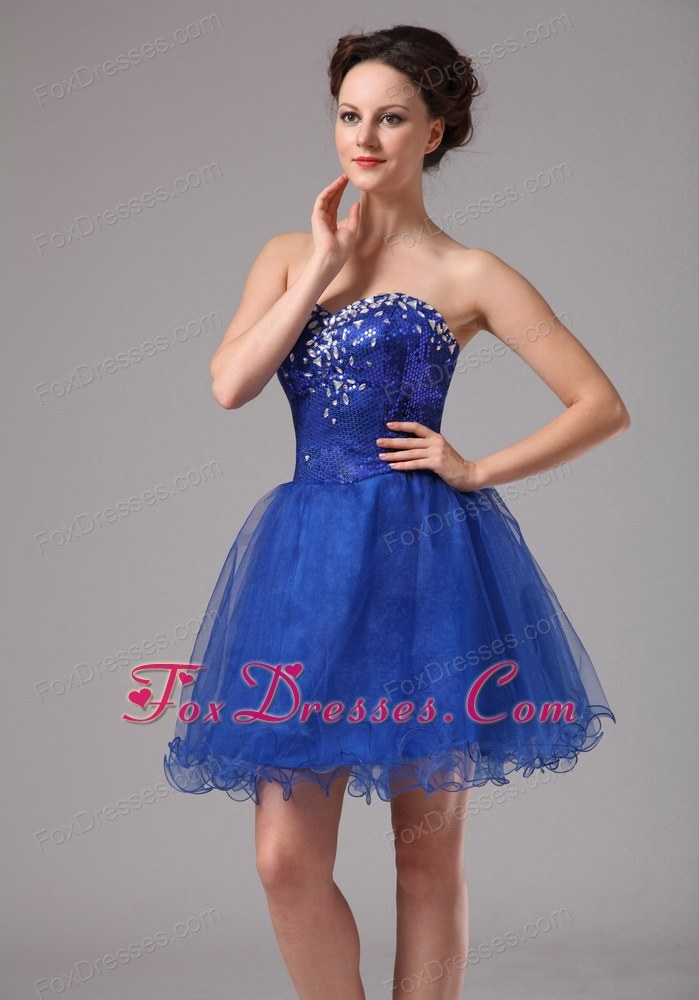 Royal Blue Beaded Mini-length Cocktail Dress organza