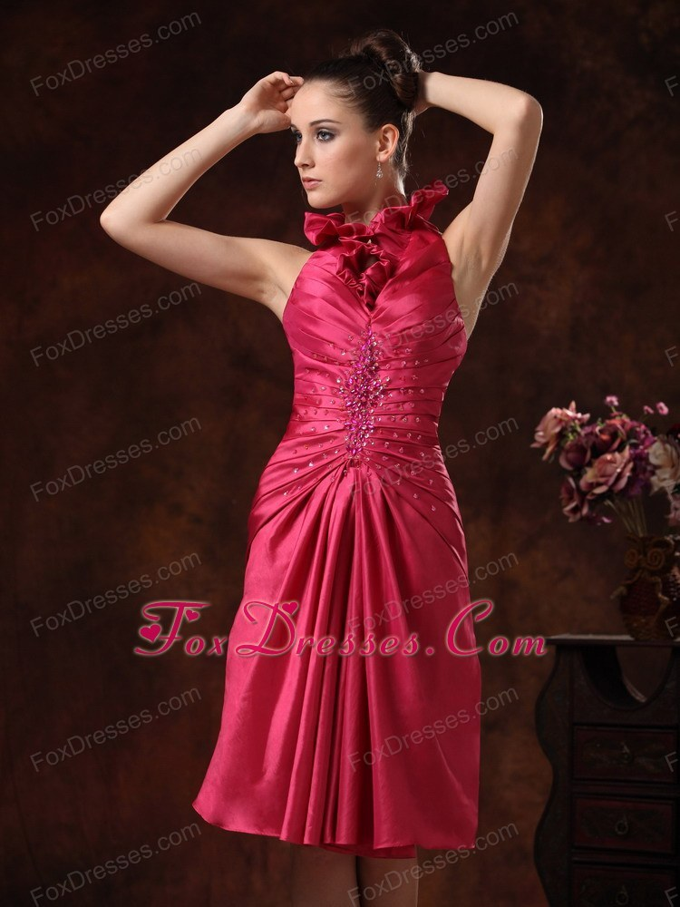 Beaded ruched hot pink halter prom dress knee length