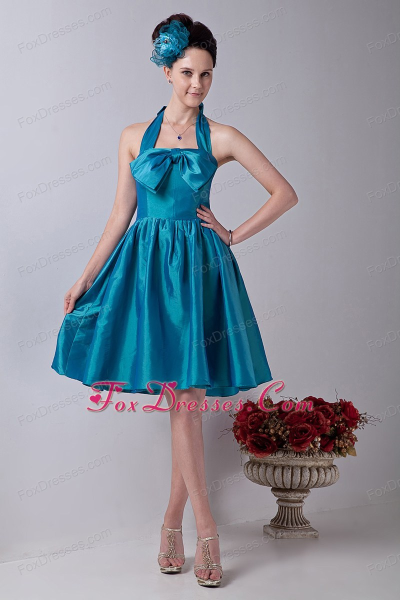Teal Princess Halter Knee-length Bowknot Graduation Dress