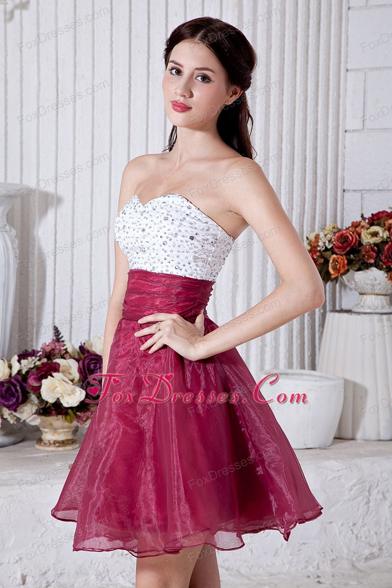 Burgundy a line mini beading graduation homecoming dress st valentines day senior prom for girl ombrellifo Gallery
