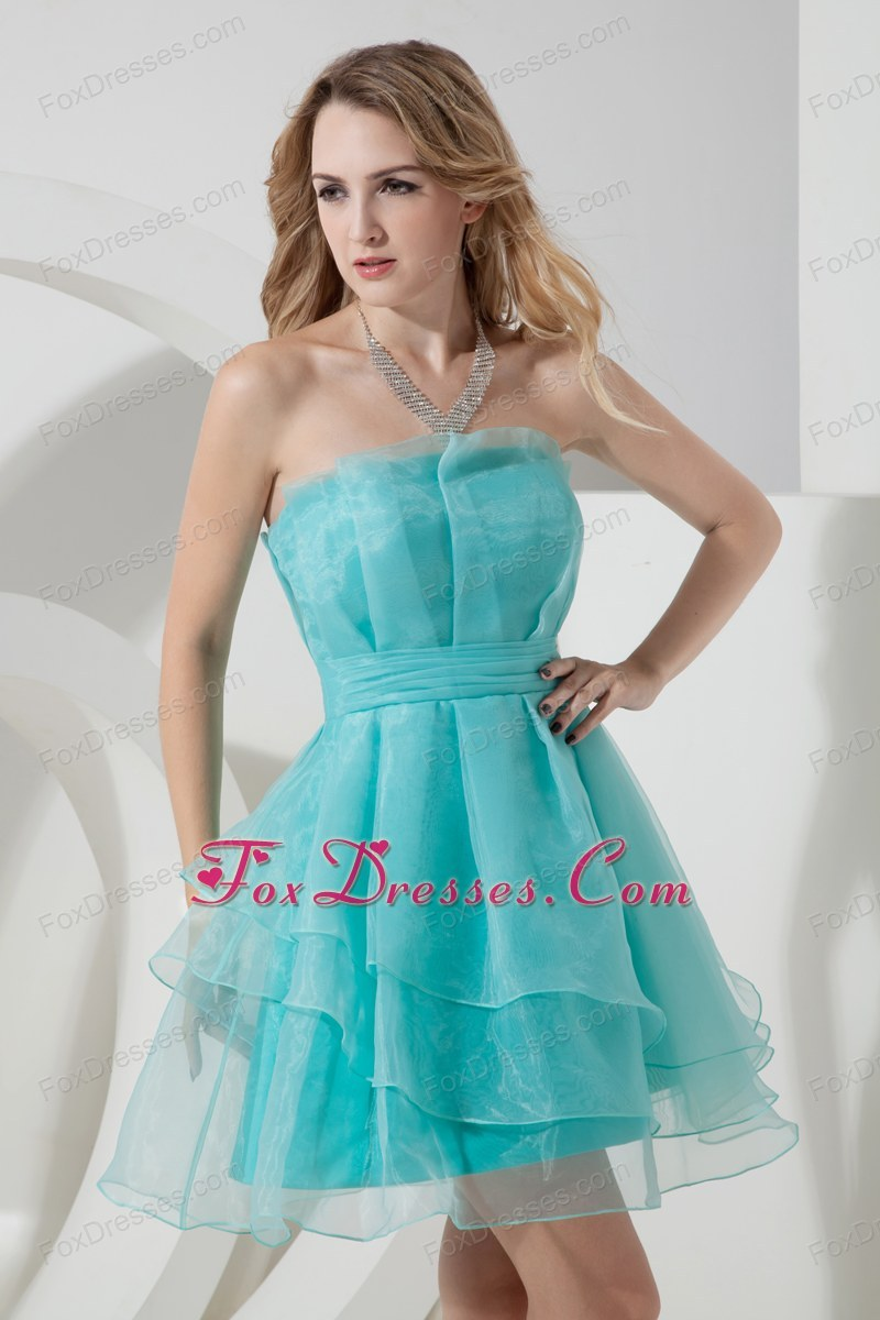 Strapless Teal A-line Mini-length Graduation Homecoming Dress Organza